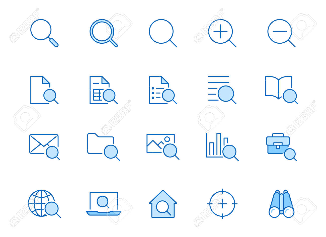 Search line icons set. Zoom, find document, magnify glass symbol, look tool, binoculars minimal vector illustrations. Simple flat outline signs for web interface. Blue color, Editable Stroke. - 158752554