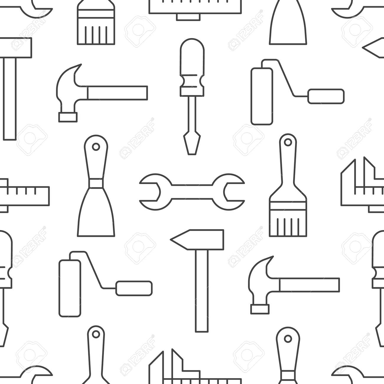 Building tools background, repair equipment seamless pattern with flat line icons of paintbrush, wrench, screwdriver, hammer and others. Construction works vector illustration black white color. - 158893848