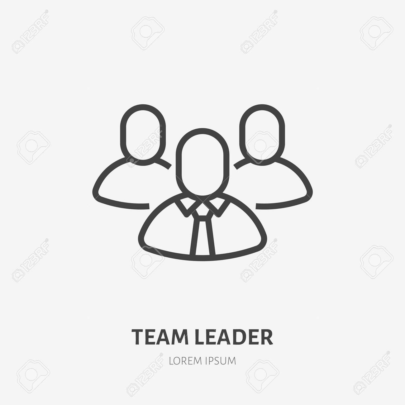 Team leader line icon, vector pictogram of employer with employee. Businessman stroke sign for company. - 158818241