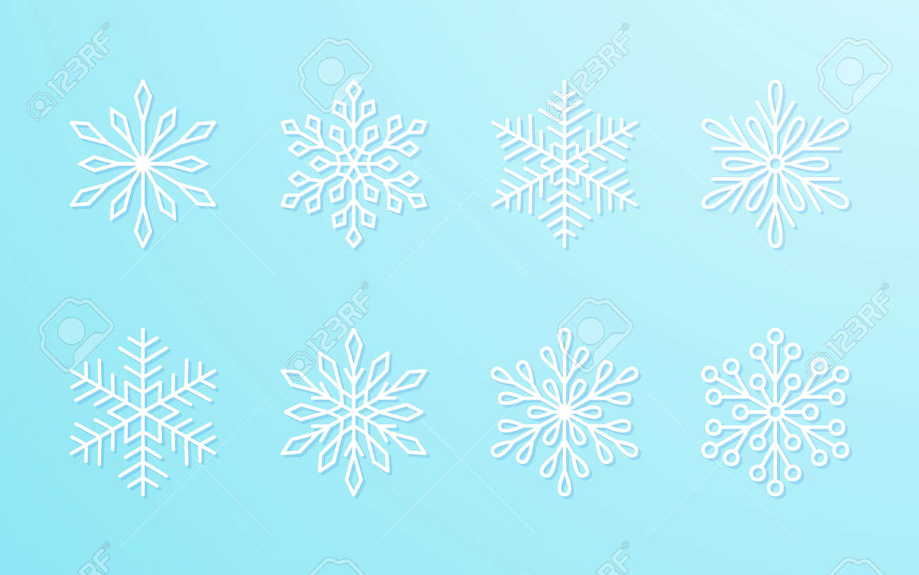 Christmas snowflakes collection white isolated on blue gradient background. Cute snow icons with intricate silhouette. Nice line doodle decorative element for New year banner, cards or ornament. - 158818526