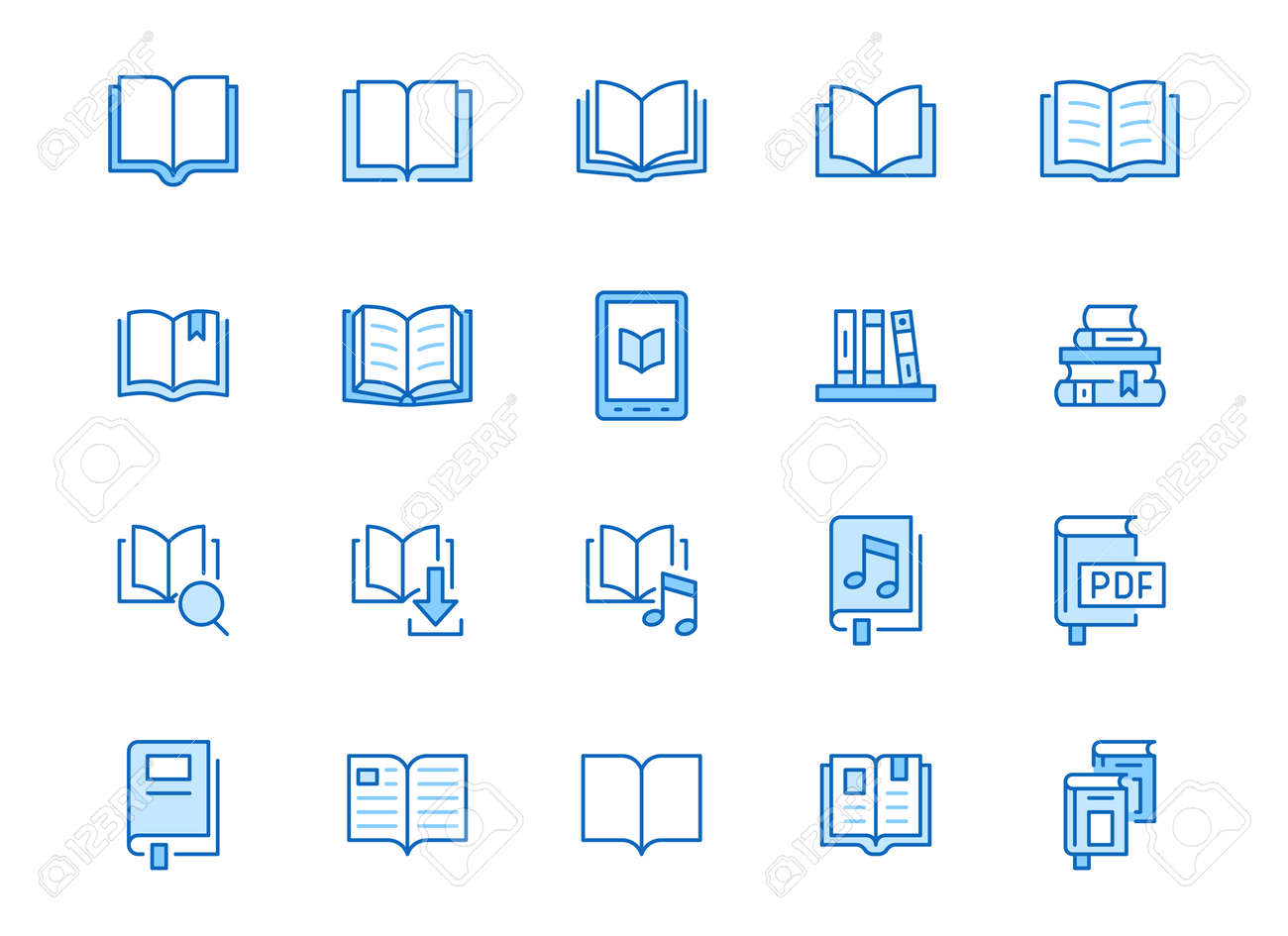 Book line icons set. Open books, dictionary, bible, audio novel, literature education minimal vector illustrations. Simple flat outline sign for web library app. Blue color, Editable Stroke. - 159869995
