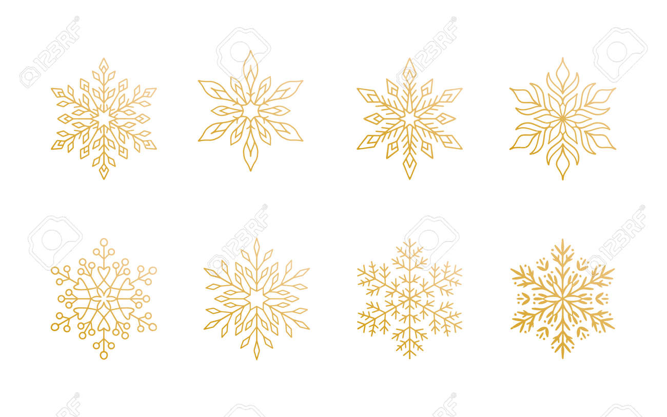 Christmas snowflakes collection isolated on white background. Cute gold gradient snow icons with intricate silhouette. Nice line doodle decorative element for New year banner, cards or ornament. - 159969941