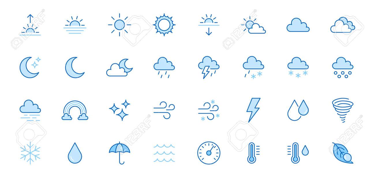 Weather line icons set. Sun, rain, thunder storm, dew, wind, snow cloud, night sky minimal vector illustrations. Simple flat outline signs for web, forecast app. Blue color, Editable Stroke. - 159870009