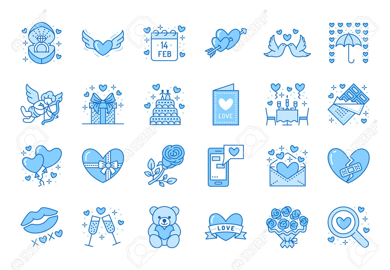 Valentines day flat line icons. Love, romance symbols - hearts, engagement ring, wedding cake, Cupid, romantic date card. Thin linear signs for february 14 celebration. Blue color, Editable Stroke. - 160067894