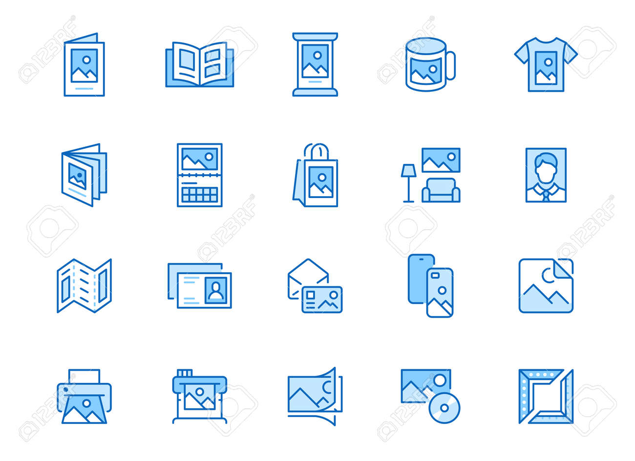 Photo printing line icon set. Brand identity printed on products like brochure, banner, mug, plotter vector illustrations. Simple outline signs for polygraphy. Blue color, Editable Stroke. - 160067893