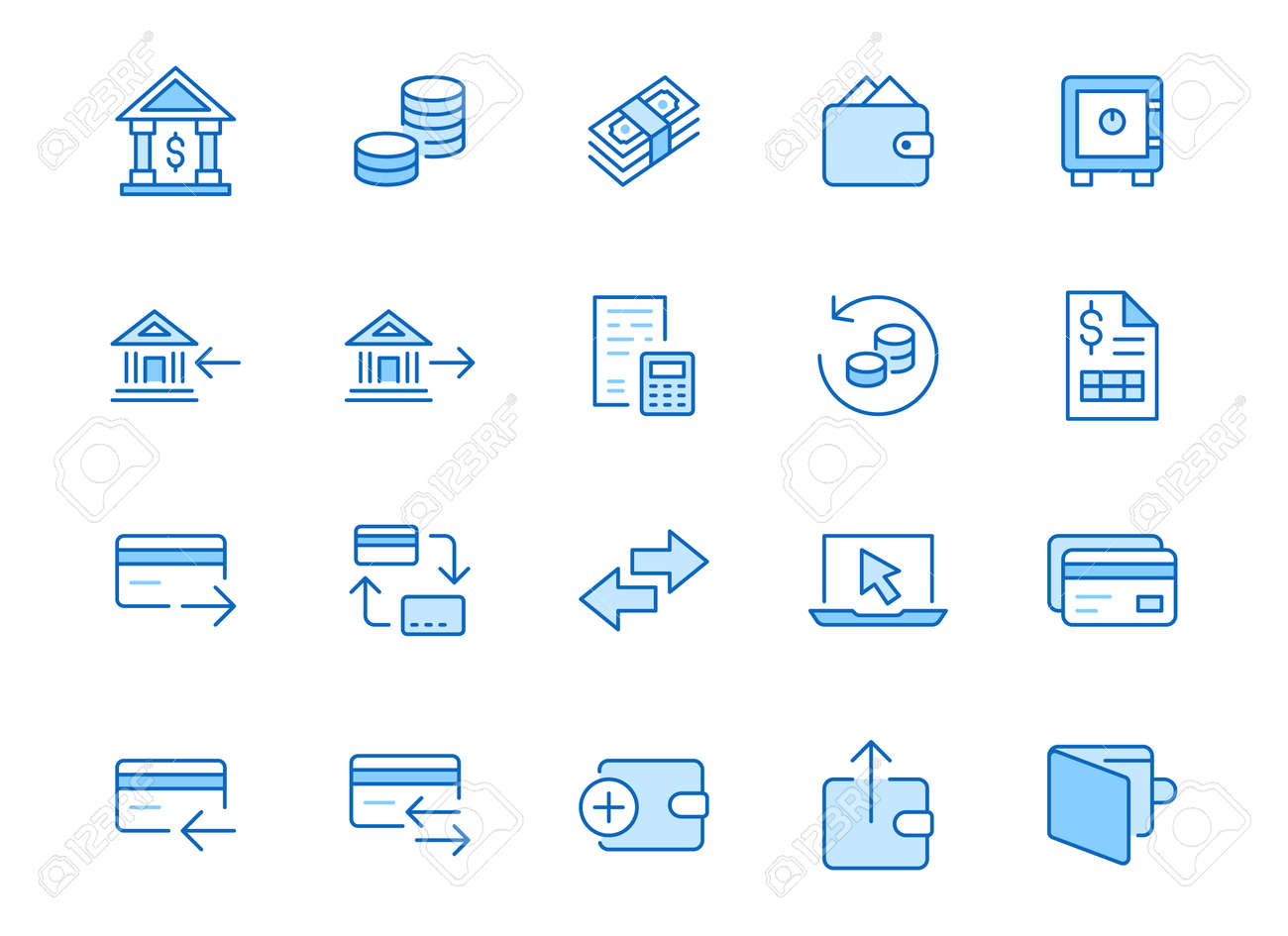 Finance line icon set. Money transfer, bank account, credit card payment cash back minimal vector illustration. Simple outline sign for online banking application. Blue color, Editable Stroke. - 160075229
