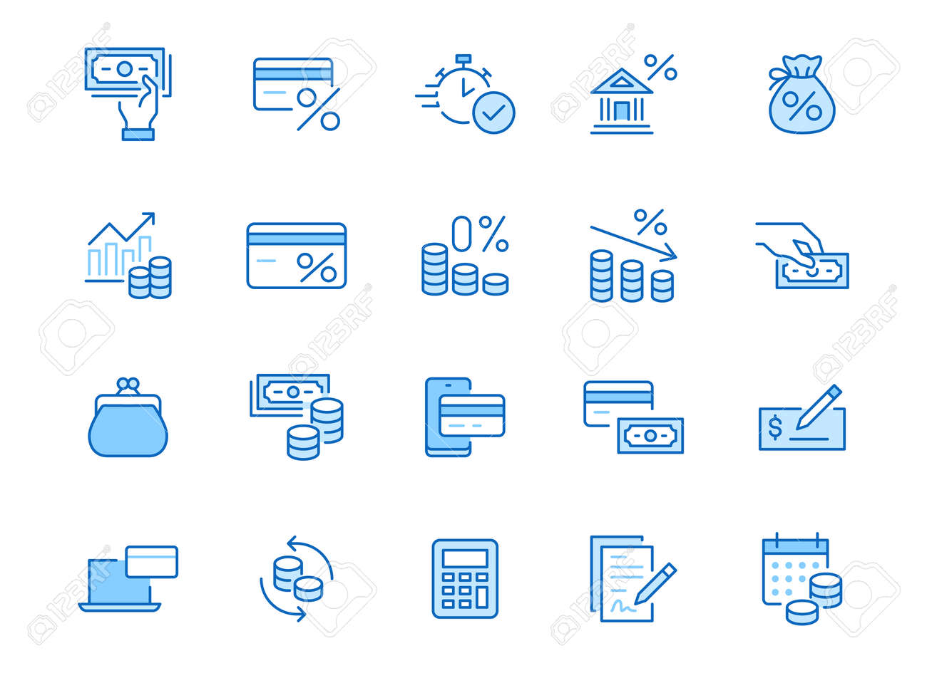 Money loan line icon set. Credit score, low interest, discount card, mortgage percent, tax minimal vector illustration. Simple outline signs for bank application. Blue color, Editable Stroke. - 160297320