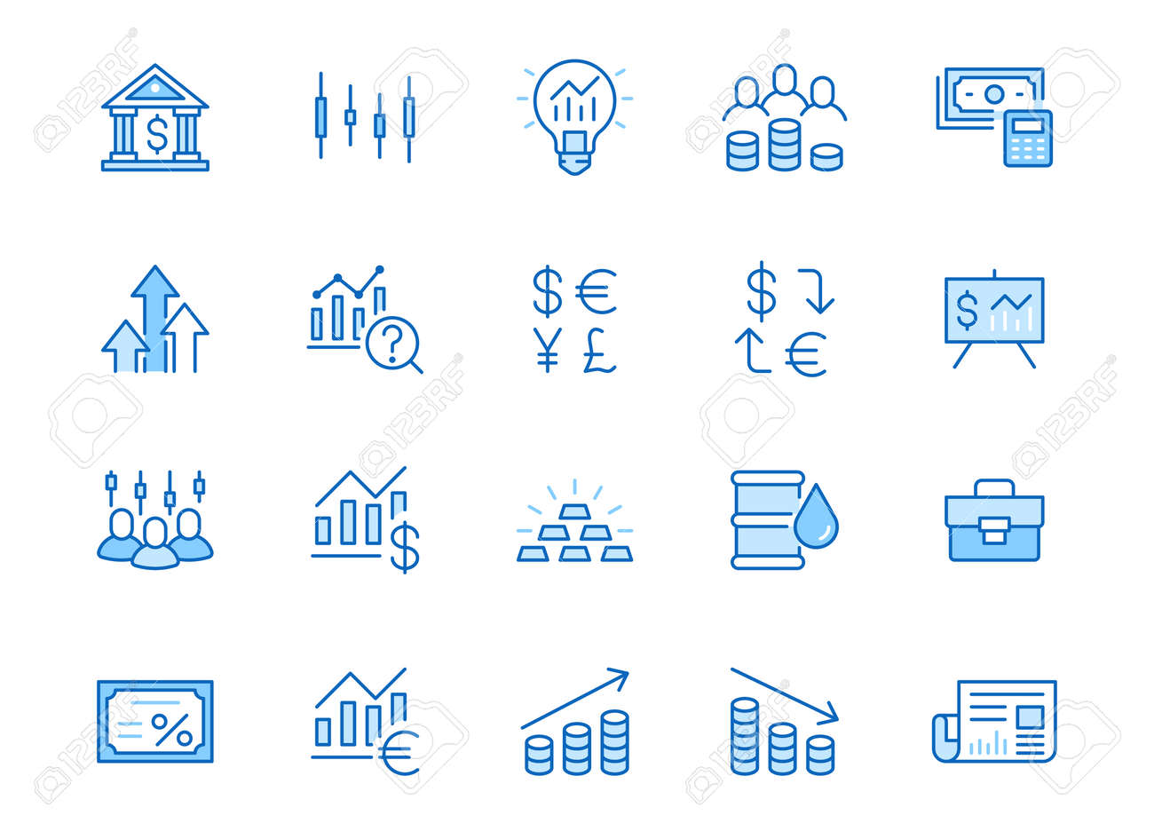 Investment line icon set. Stock market, bond, financial analysis, broker, income increase minimal vector illustration. Simple outline signs investor application. Blue color, Editable Stroke. - 160242635