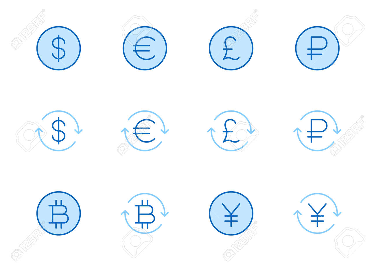 Currency exchange line icon set. Dollar, euro, pound, russian ruble, yen, bitcoin minimal vector illustration. Simple outline money signs for financial application. Blue color, Editable Stroke. - 160242742
