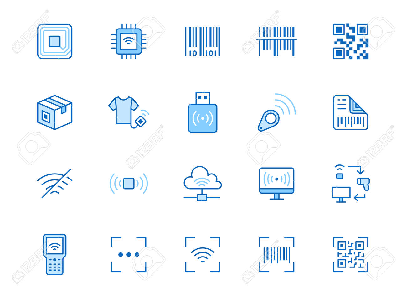 RFID, qr code, barcode line icon set. Price tag scanner, label reader, identification microchip vector illustration. Simple outline signs retail safety application. Blue color, Editable Stroke. - 160694976