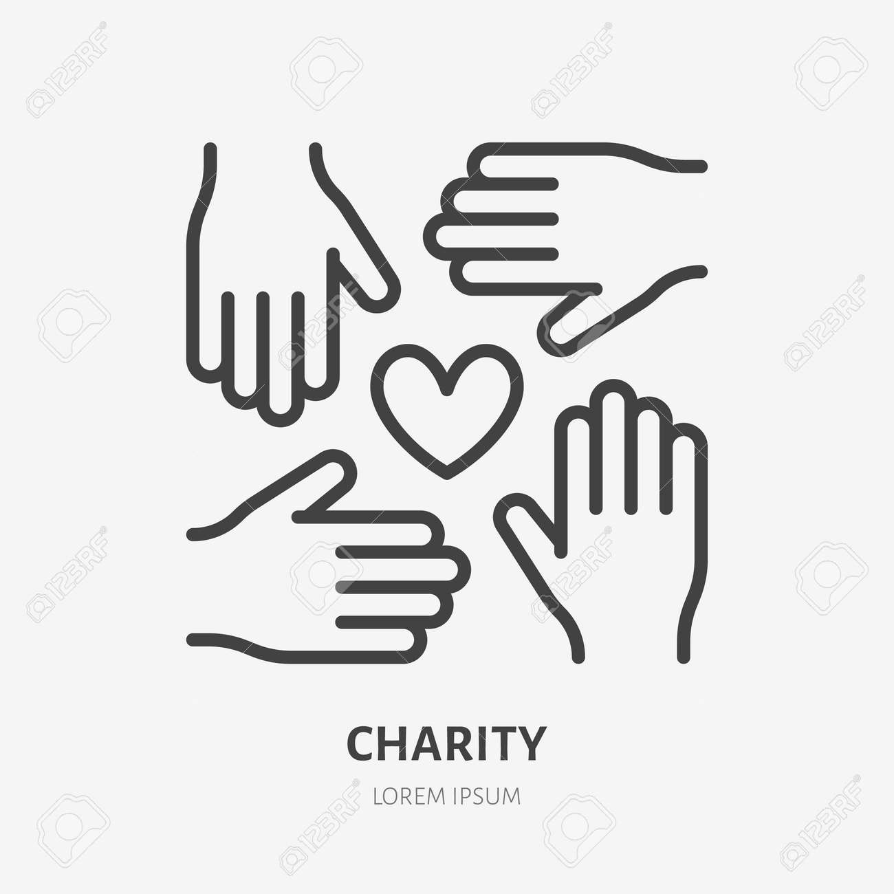 Volunteer organization flat line icon. Vector outline illustration of hands and heart. Black color thin linear sign for charity unity. - 160599955
