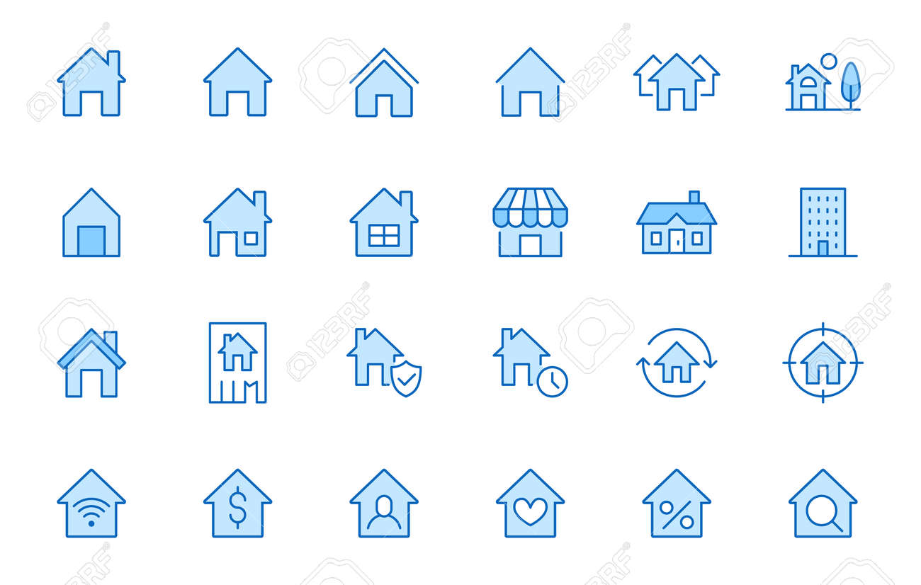 Home line icons set. House, residential building, homepage, property mortgage minimal vector illustrations. Simple flat outline sign for web real estate app. Blue color, Editable Stroke. - 160758984