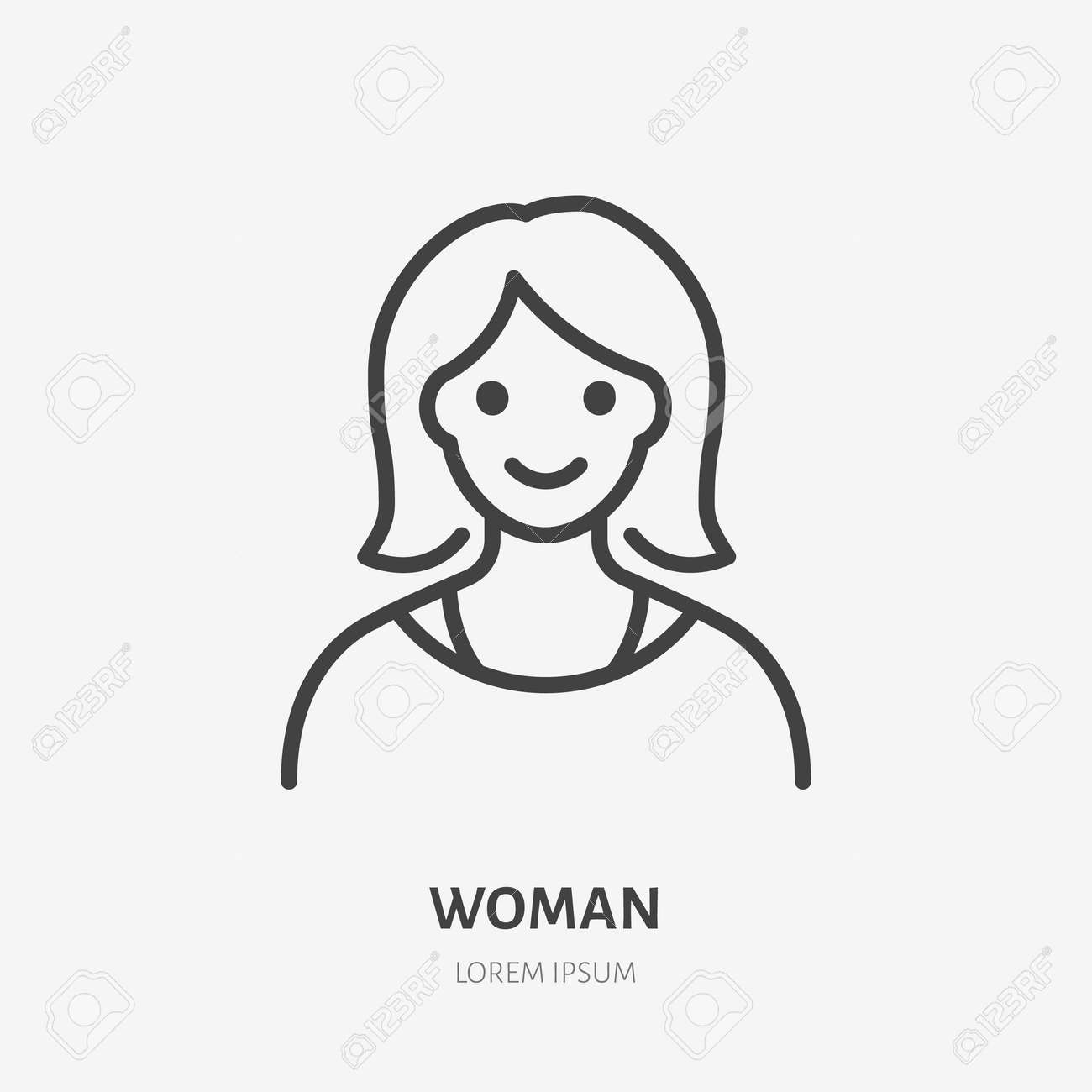 Woman flat line icon. Vector outline illustration of lady avatar. Black color thin linear sign for default simple profile. - 161710101