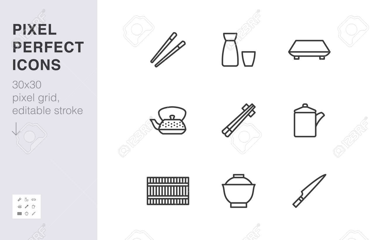 Japanese tableware line icon set. Chopsticks, sushi plate, sake, soup bowl, roll mat, soy sauce minimal vector illustration. Simple outline sign of asian food. 30x30 Pixel Perfect, Editable Stroke. - 161710106
