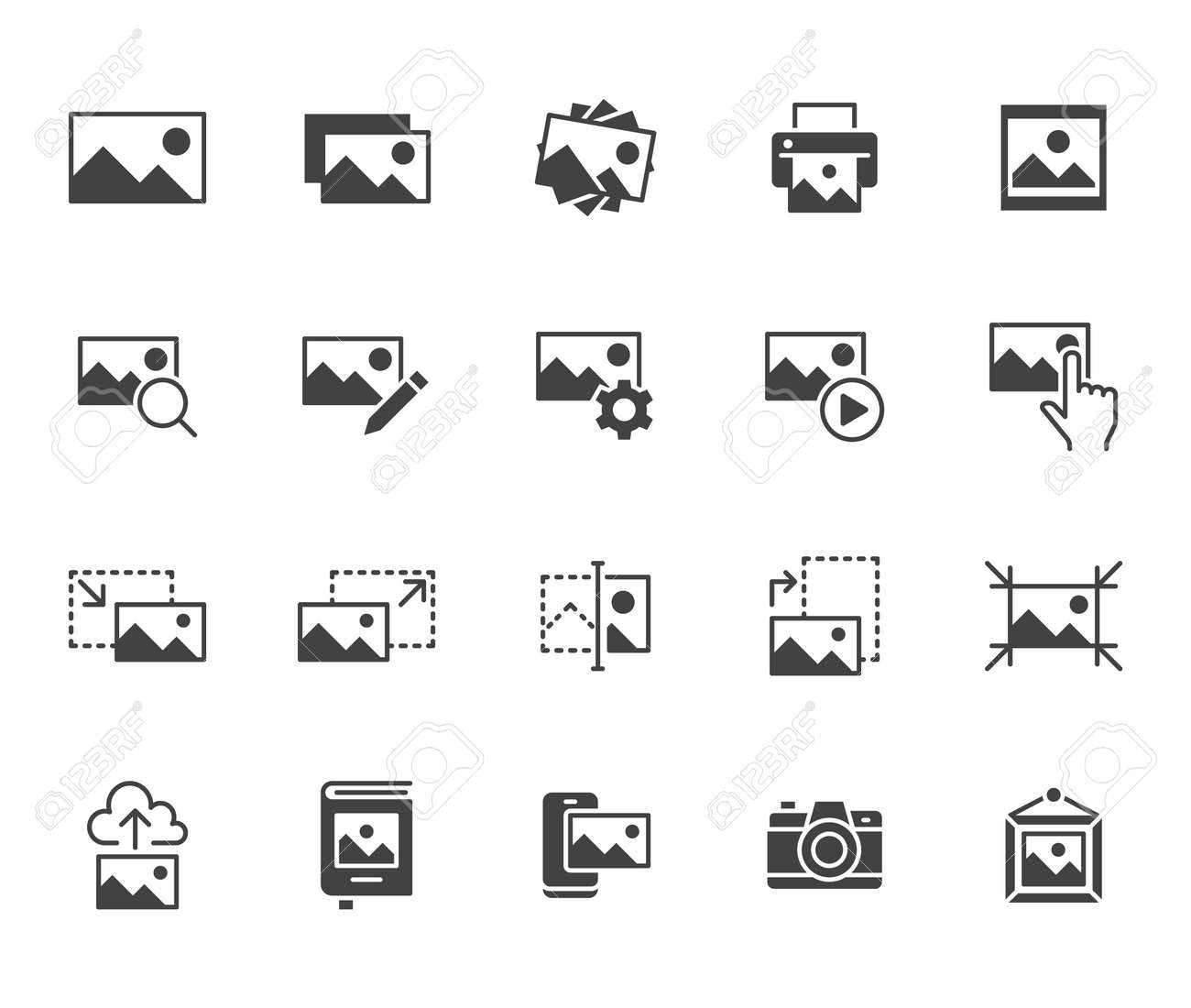 Photo flat icon set. Image gallery, picture frame, printer, file resize, camera black minimal silhouette vector illustrations. Simple glyph signs for photos editor application. - 161710103