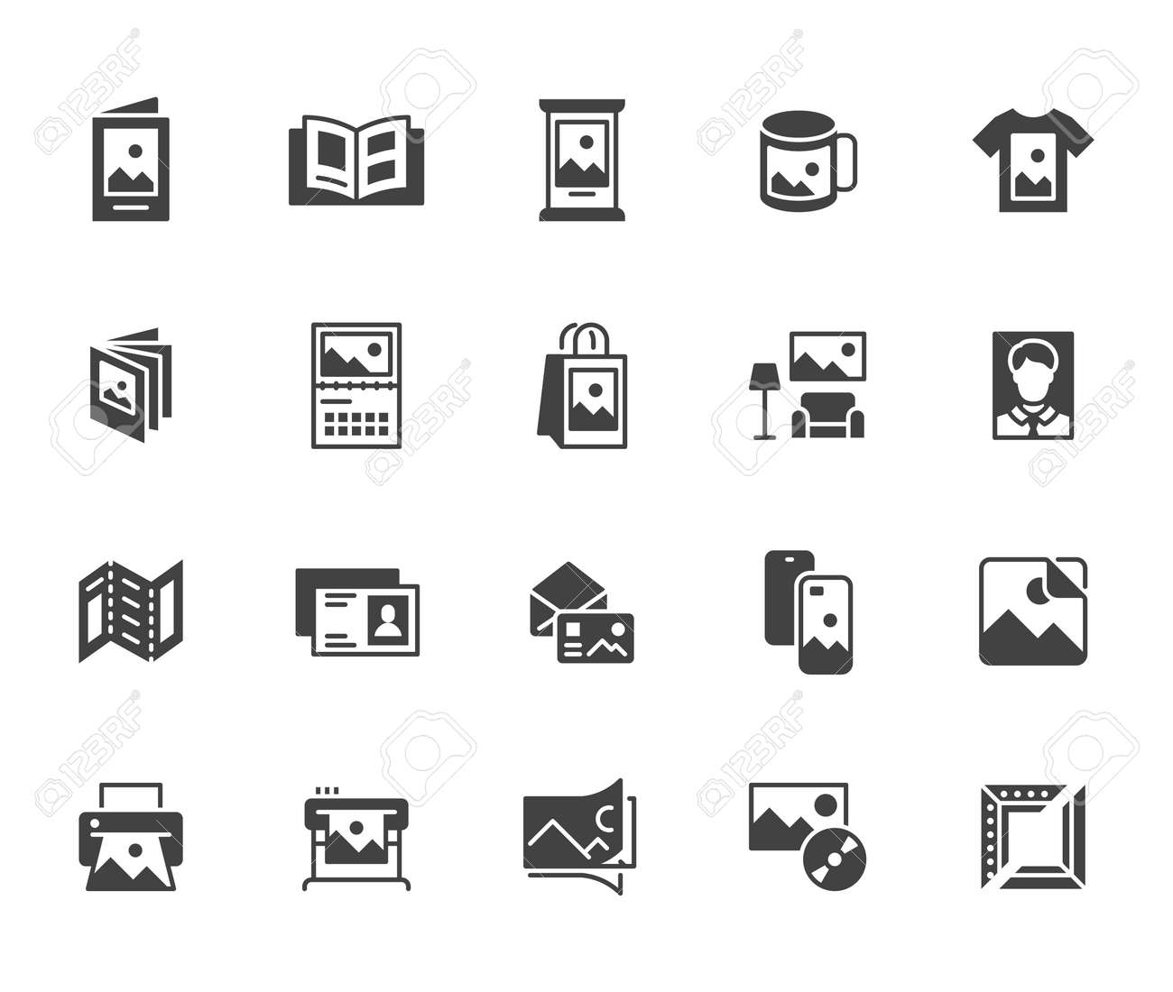 Photo printing flat icon set. Brand identity printed on products like brochure, banner, mug, plotter black silhouette vector illustrations. Simple glyph signs for polygraphy. - 161710105