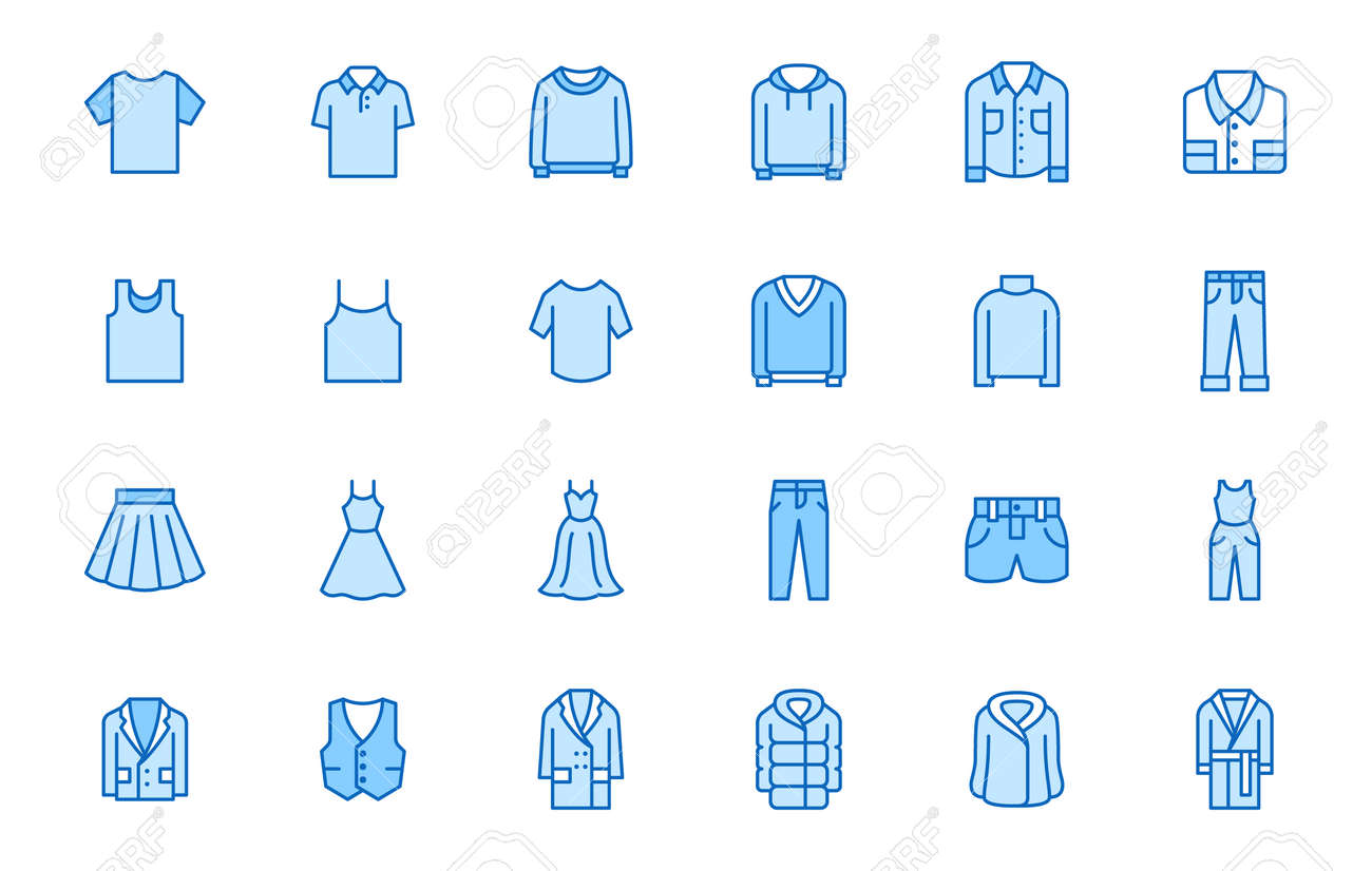 Clothing line icon set. Dress, polo t-shirt, jeans, winter coat, jacket pants, skirt minimal vector illustrations. Simple outline signs for fashion application. Blue color, Editable Stroke. - 161710107