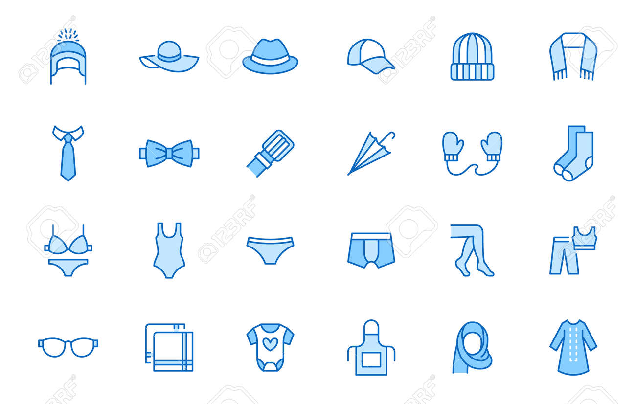 Clothing accessory line icon set. Bow tie, handkerchief, woman hat, sunglasses, umbrella, hijab minimal vector illustrations. Simple outline signs for fashion app. Blue color, Editable Stroke. - 161710110