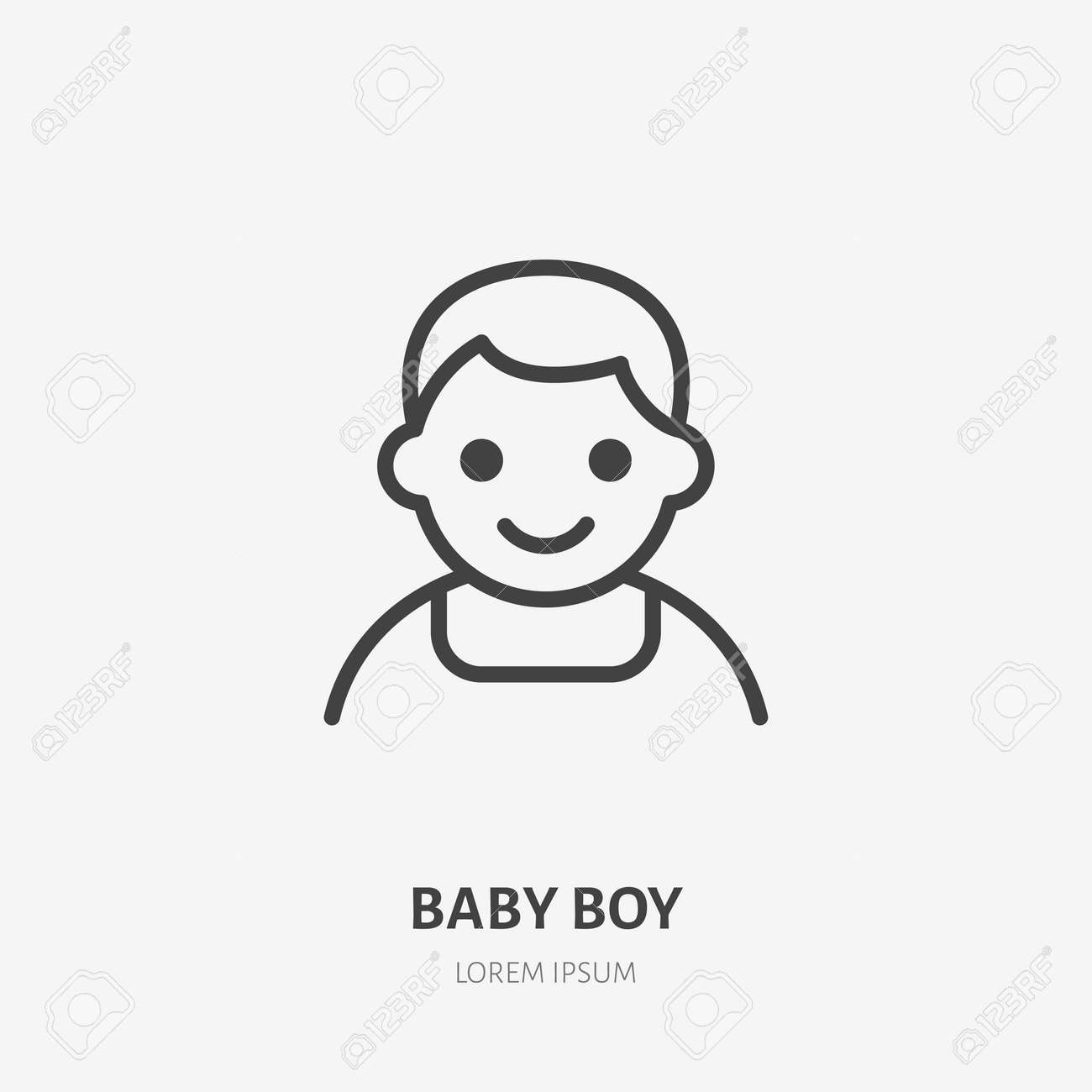Baby boy flat line icon. Vector outline illustration of little kid avatar. Black color thin linear sign for children simple profile. - 161710111