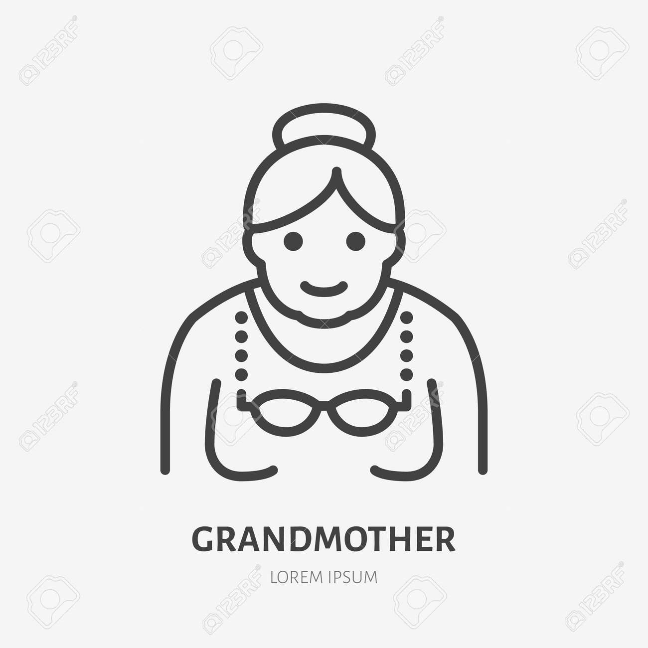 Grandmother flat line icon. Vector outline illustration of old woman . Black color thin linear sign for senior person avatar. - 161710113