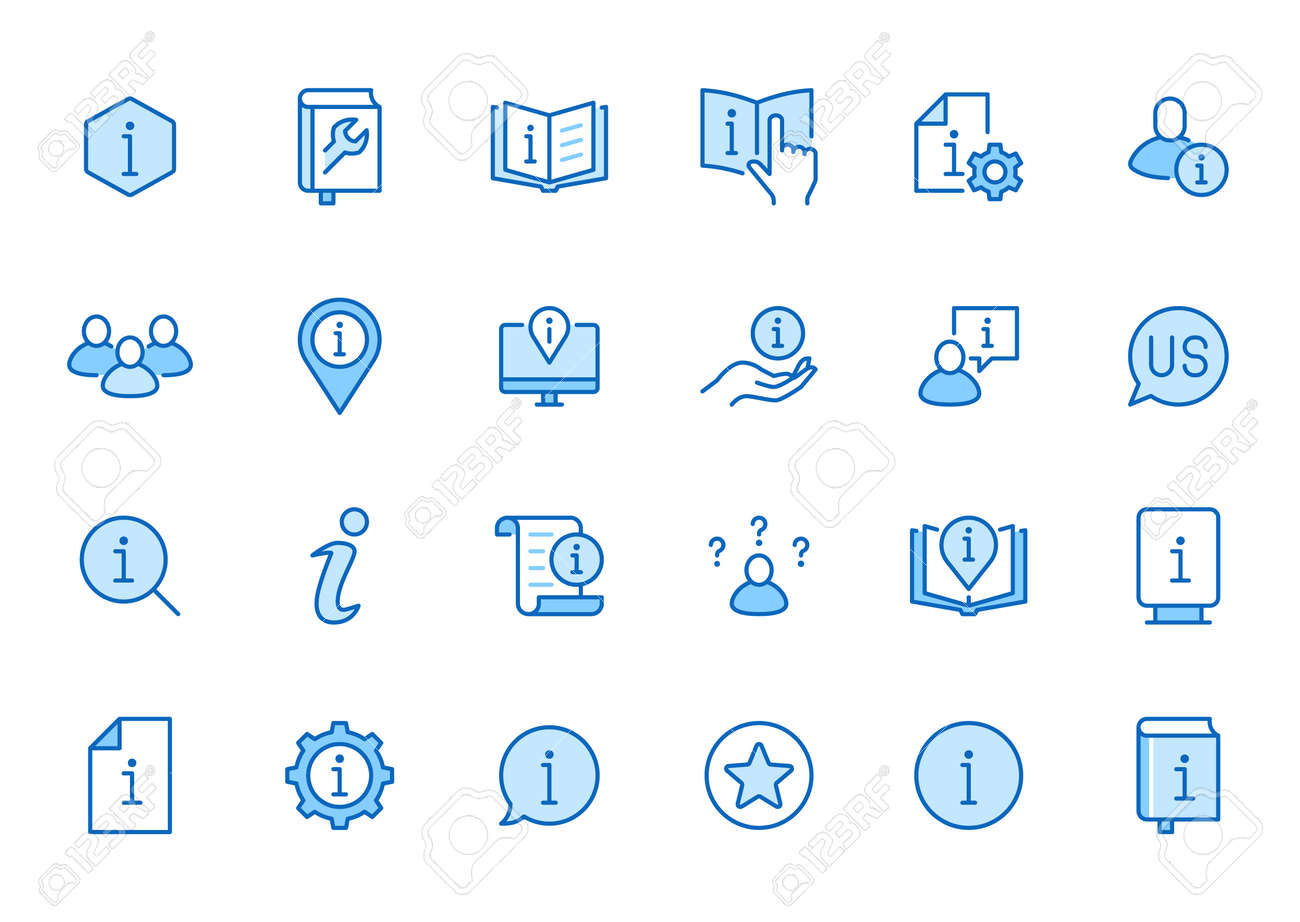 Information line icon set. Privacy policy, manual, rule, instruction, inform, guide, reference minimal vector illustration. Simple outline sign tutorial app ui. Blue color, Editable Stroke. - 161710116