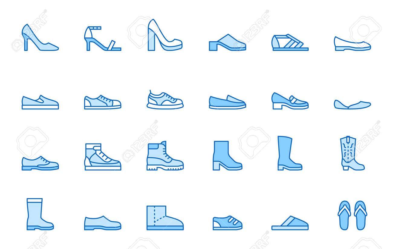 Shoe line icon set. High heels sandal, cowboy boots, hiking footwear, sneakers, slipper minimal vector illustrations. Simple outline signs for fashion application. Blue color, Editable Stroke. - 162519215