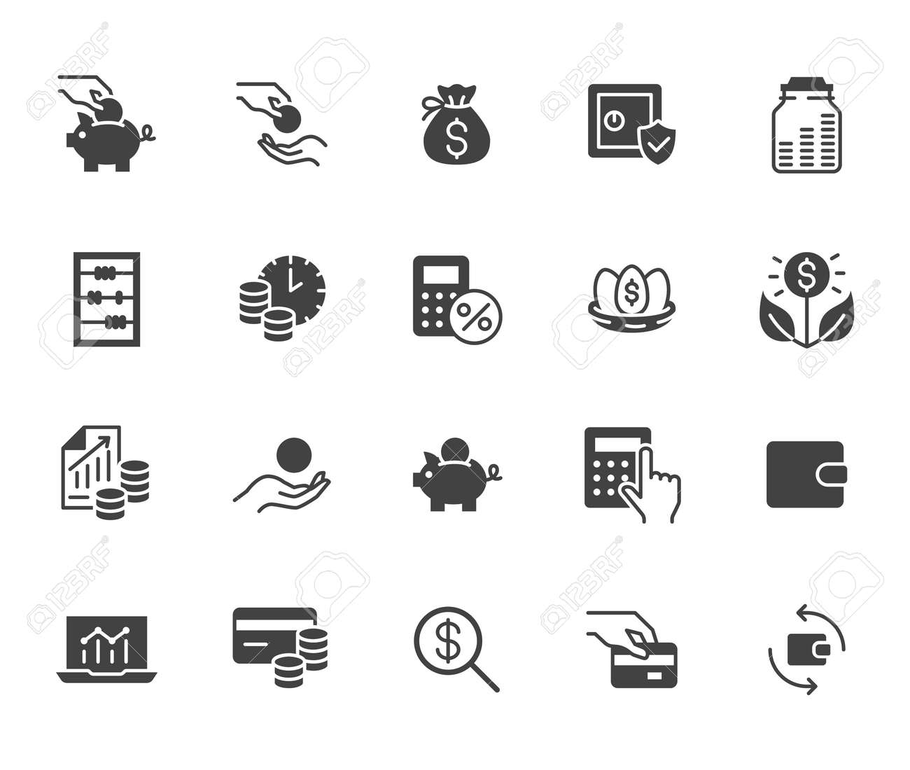 Money income flat icon set. Pension fund, profit growth, piggy bank, finance capital minimal black silhouette vector illustration. Simple glyph signs for investment application. - 162519216