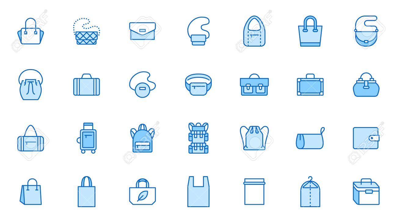 Bags line icon set. Purse types - tote, briefcase, fanny pack, shopper, luggage, plastic bag minimal vector illustrations. Simple outline signs for fashion app. Blue color, Editable Stroke. - 162519220