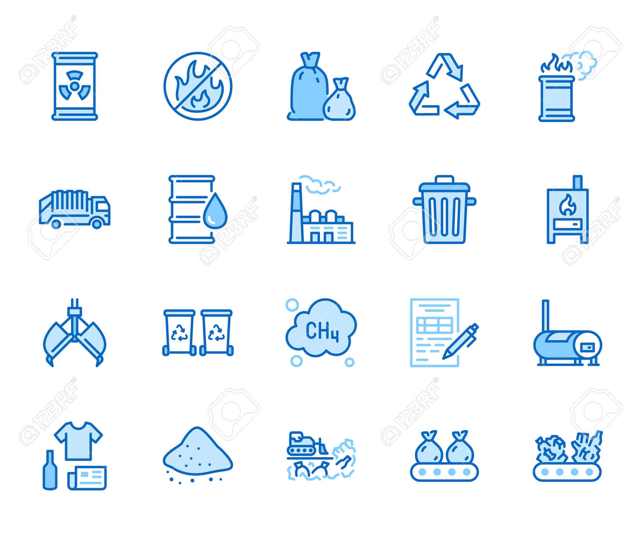 Waste recycling flat line icons set. Garbage bag, truck, incinerator factory, container, bin, rubbish dump vector illustration. Outline signs of trash management. Blue color, Editable Stroke. - 162486393