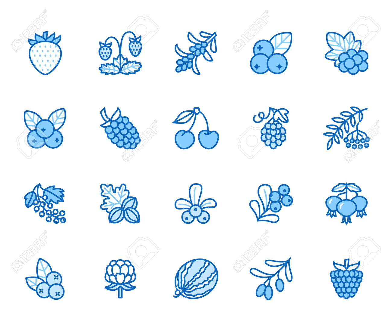 Forest berries flat line icons - blueberry, cranberry, raspberry, strawberry, cherry, rowan. Watermelon, grapes, olives illustrations for natural food store. Blue color, Editable Stroke. - 162486392