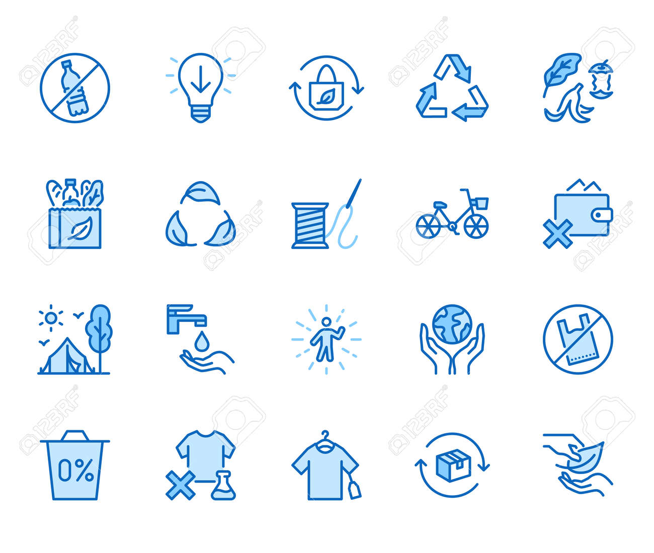 Zero waste lifestyle flat line icons set. Refuse, reduce, reuse, recycle, leaves circle, save water, planet, eco tourism vector illustration. Outline signs of ecology. Blue color, Editable Stroke. - 162491606