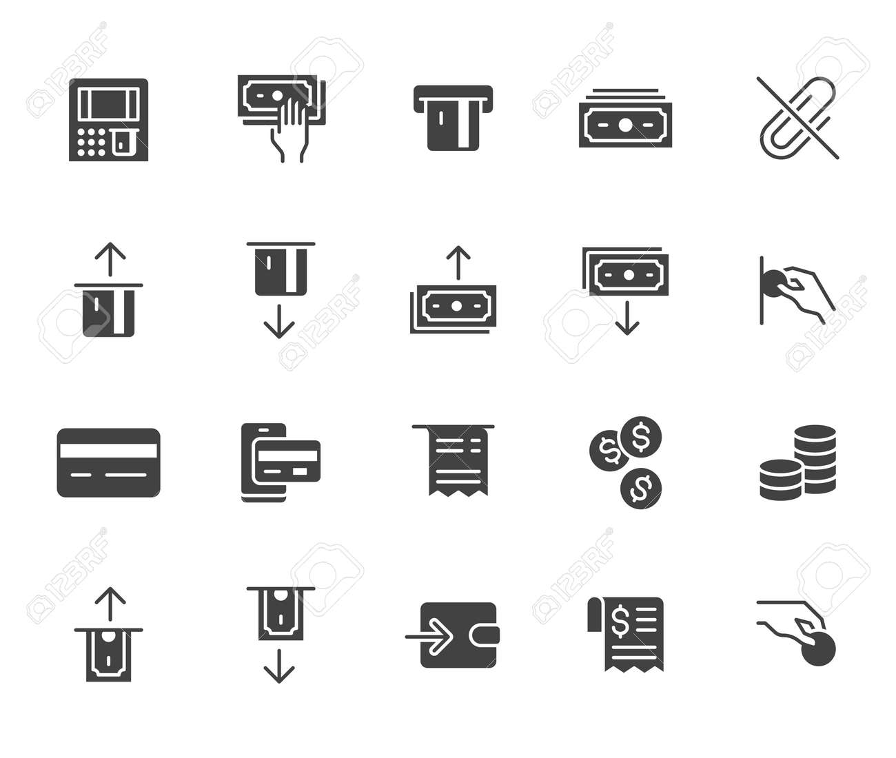 Atm machine flat icon set. Withdraw money, deposit, hand taking cash, receipt black minimal silhouette vector illustration. Simple glyph signs for payment terminal application. - 162491611