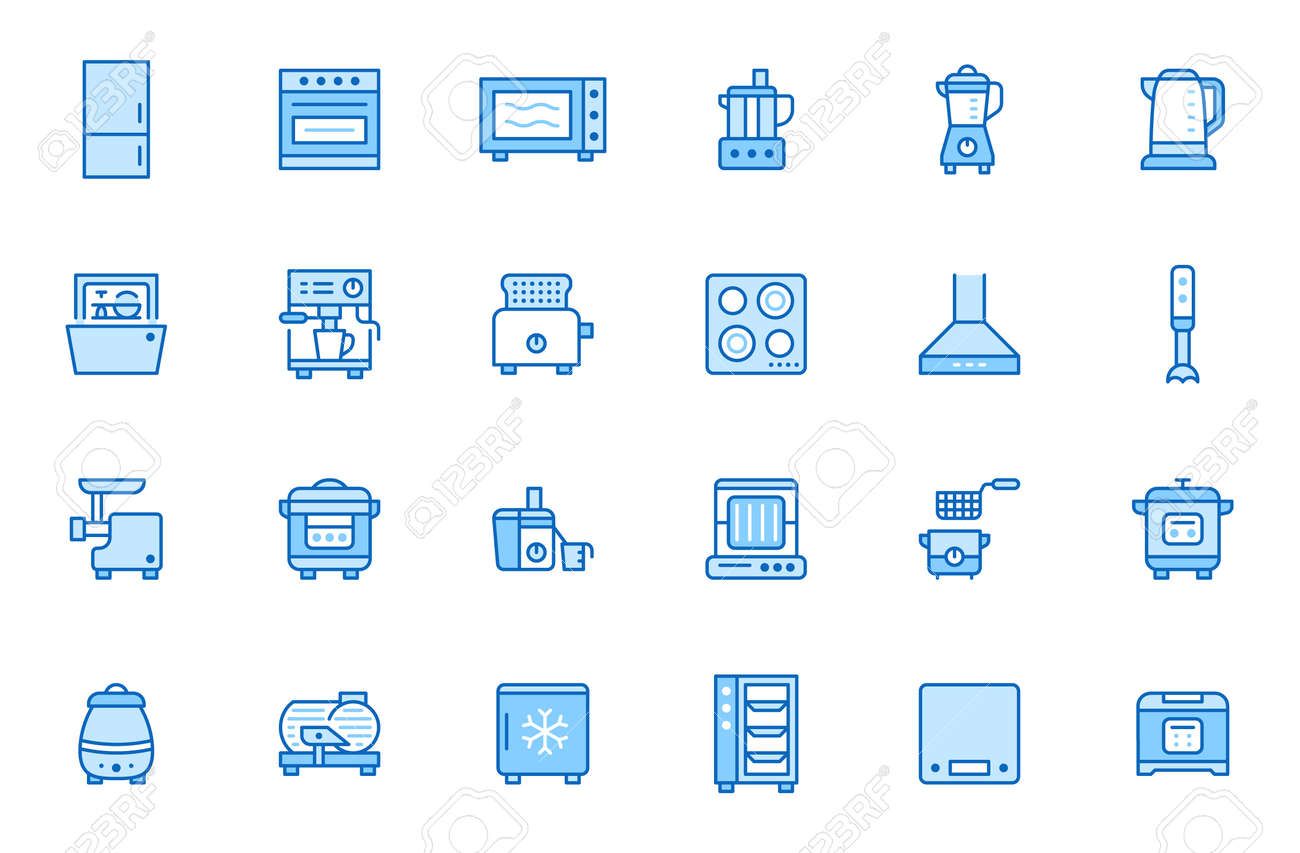 Kitchen appliance line icon set. Oven, mixer, dishwasher, food processor, steamer minimal vector illustrations. Simple outline signs of cooking equipment. Blue color, Editable Stroke. - 162491615
