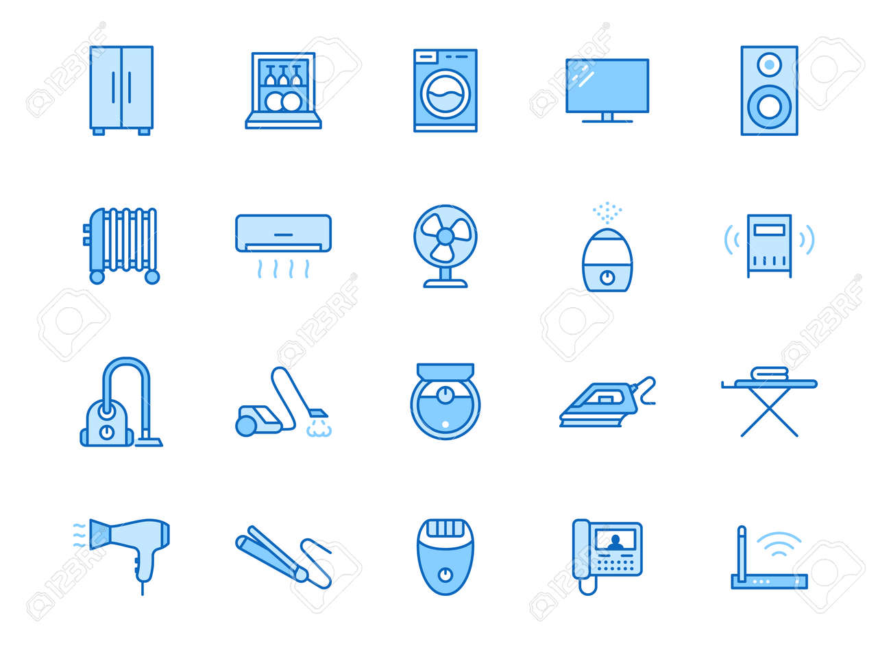 Household appliance line icon set. Washing machine, humidifier robot vacuum cleaner, curling iron minimal vector illustration. Simple outline signs for electronics. Blue color, Editable Stroke. - 162491636