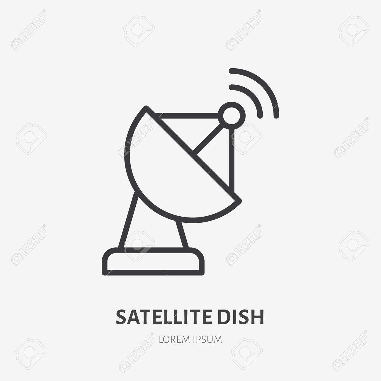Satellite dish flat line icon. Vector outline illustration of communication equipment. Black color thin linear sign for telecommunication wireless transmitter. - 162491638