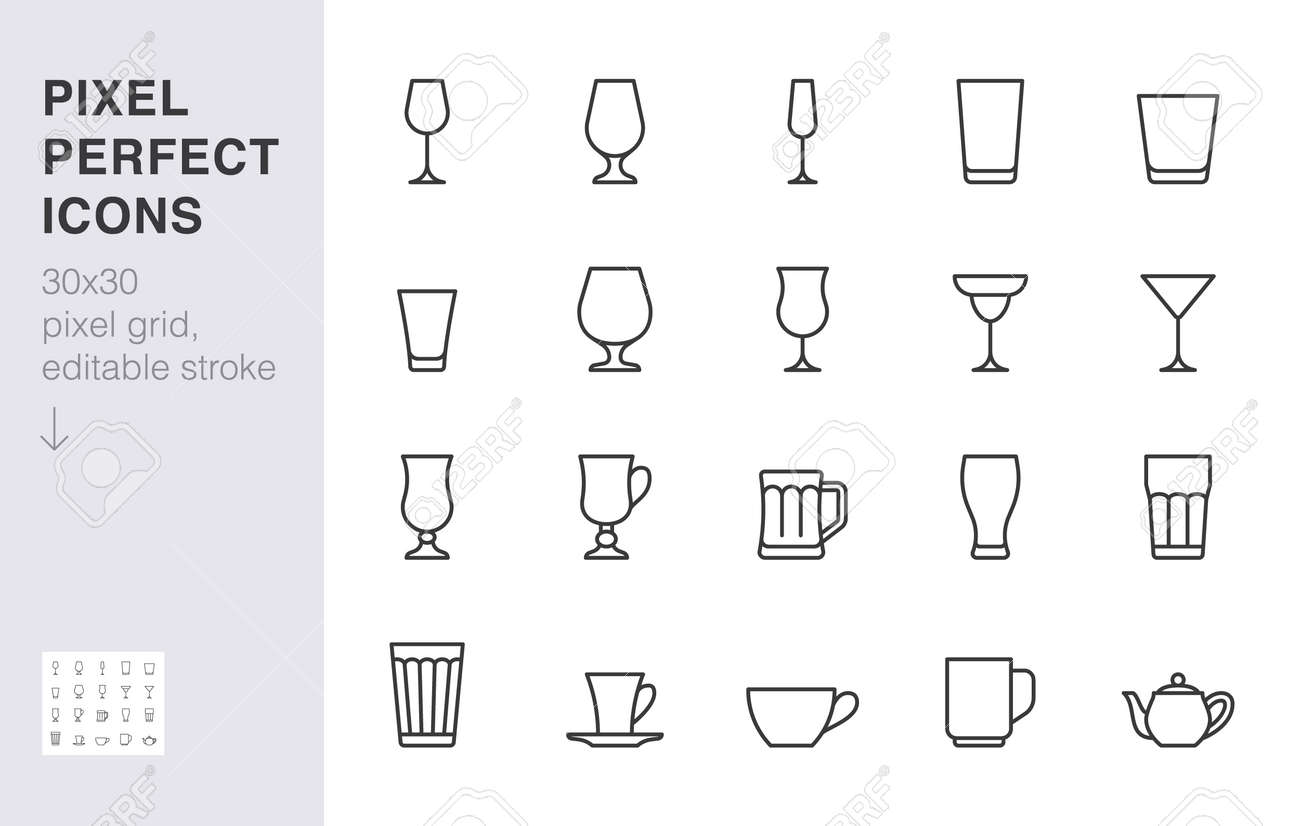 Glass line icon set. Drink glassware type - beer mug, whiskey shot, wineglass, teapot minimal vector illustration. Simple outline sign of cocktail, beverage. 30x30 Pixel Perfect, Editable Stroke. - 162491639