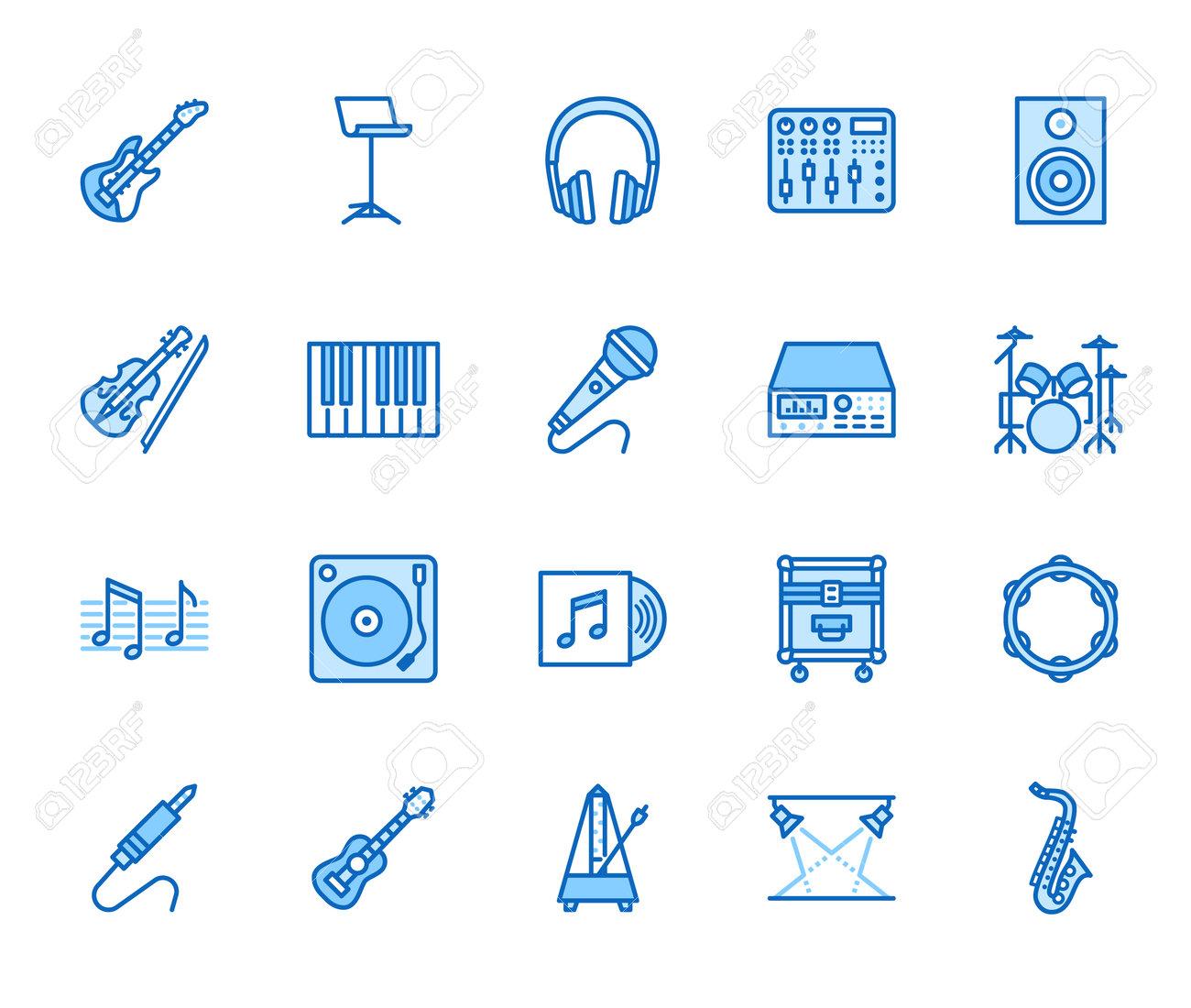 Musical instruments flat line icons set. Dj equipment, sound recording studio, piano, guitar, saxophone vector illustration. Outline pictogram for music store. Blue color, Editable Stroke. - 162491641
