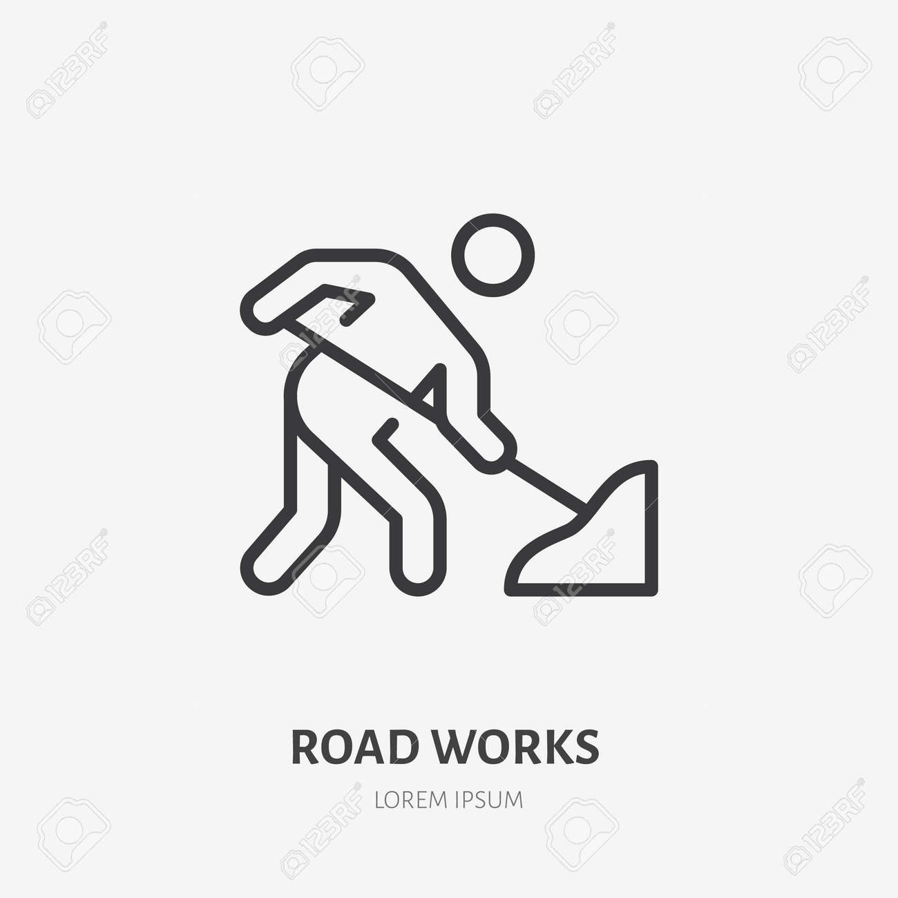Road works flat line icon. Vector outline illustration of man with the shovel. Black color thin linear sign for warning pictogram. - 162491642