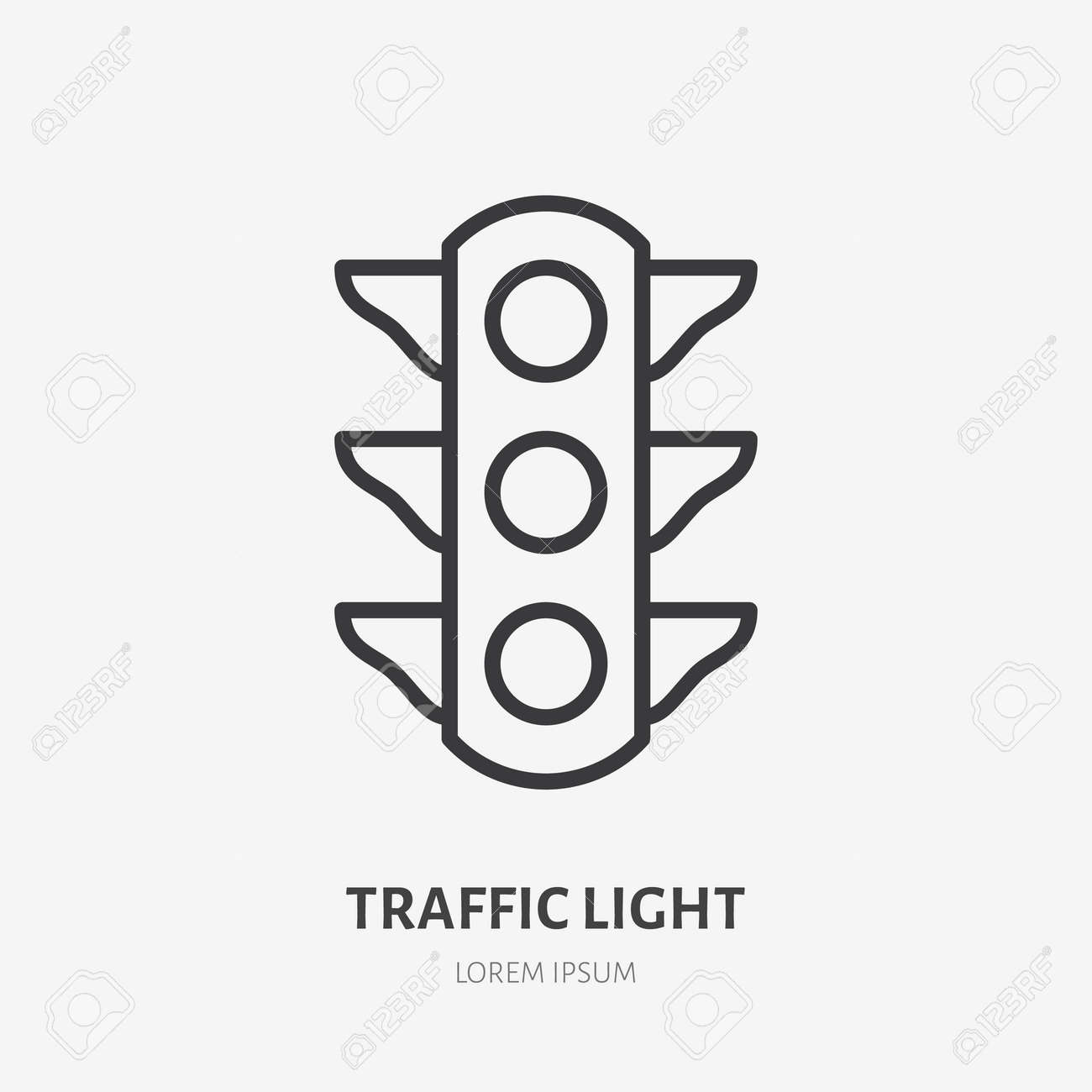 Traffic light flat line icon. Vector outline illustration of simple traficlight. Black color thin linear sign for stoplight traficlamp. - 162491643