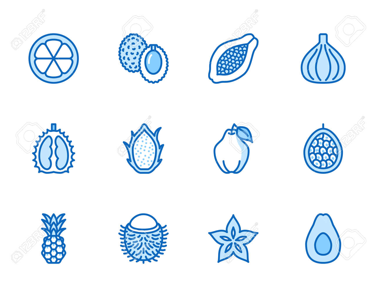 Exotic fruits, berry flat line icons set. Papaya, dragon fruit, rambutan, fig, mangosteen, avocado, starfruit vector illustrations. Outline signs for tropical food store. Blue color, Editable Stroke. - 162491645