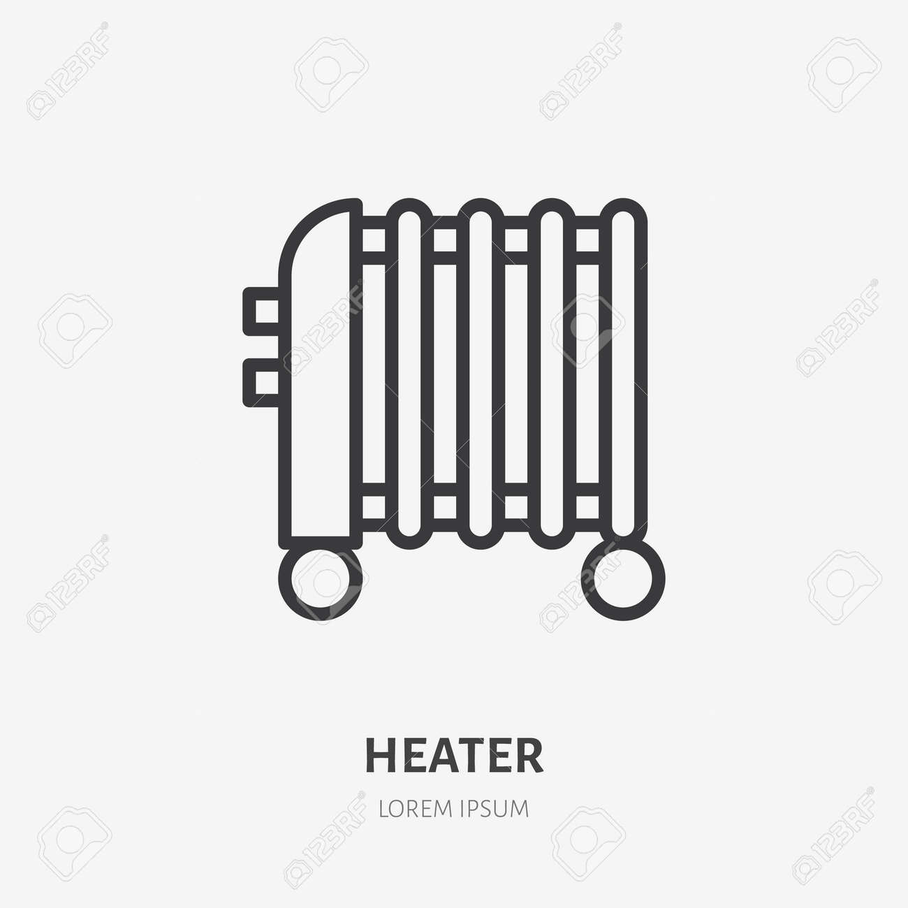 Oil heater flat line icon. Vector outline illustration of domestic heater. Black color thin linear sign for interior portable thermostat. - 162491646