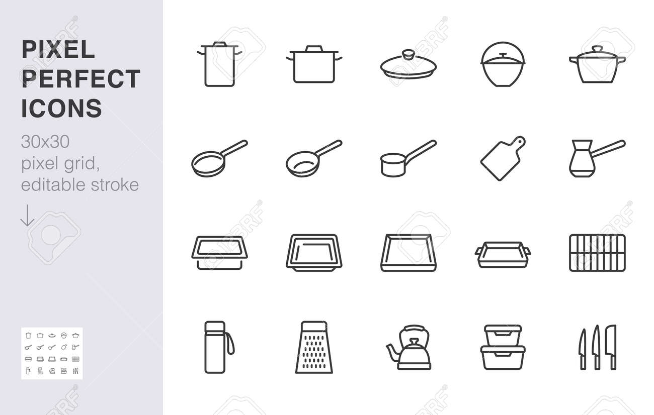 Cookware line icon set. Kitchen equipment - cooker pan pot, frying griddle, lid, knife grater minimal vector illustration. Simple outline sign of cooking utensils. 30x30 Pixel Perfect Editable Stroke - 163160935