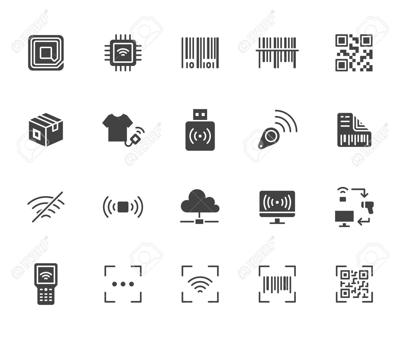 RFID, qr code, barcode flat icon set. Price tag scanner, label reader, identification microchip black silhouette vector illustration. Simple glyph signs retail safety application. - 163160937