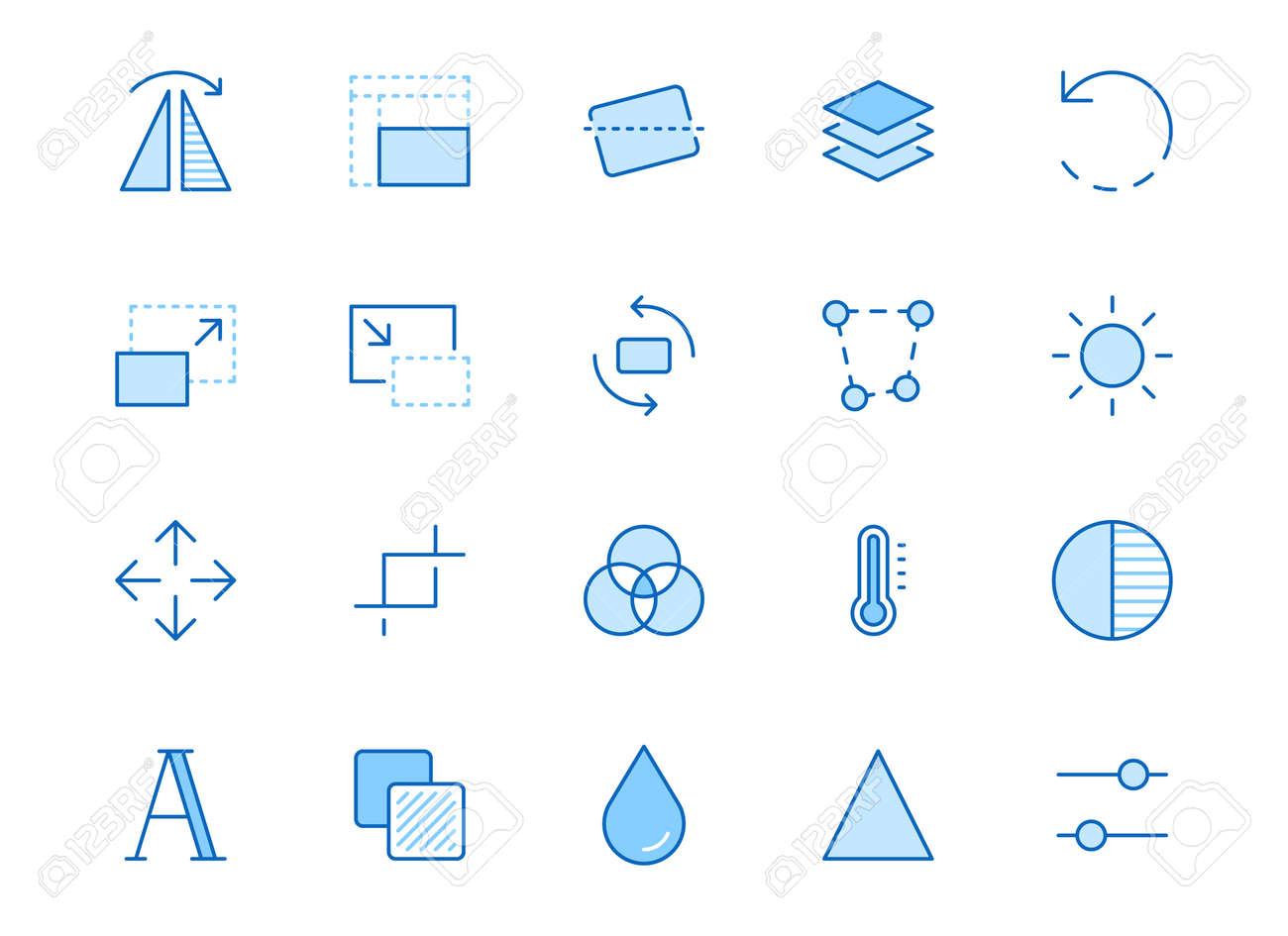 Photo edit line icon set. Flip, crop image, color filter, adjust effects, contrast minimal vector illustration. Simple outline signs for photography application. Blue color, Editable Stroke. - 163160939