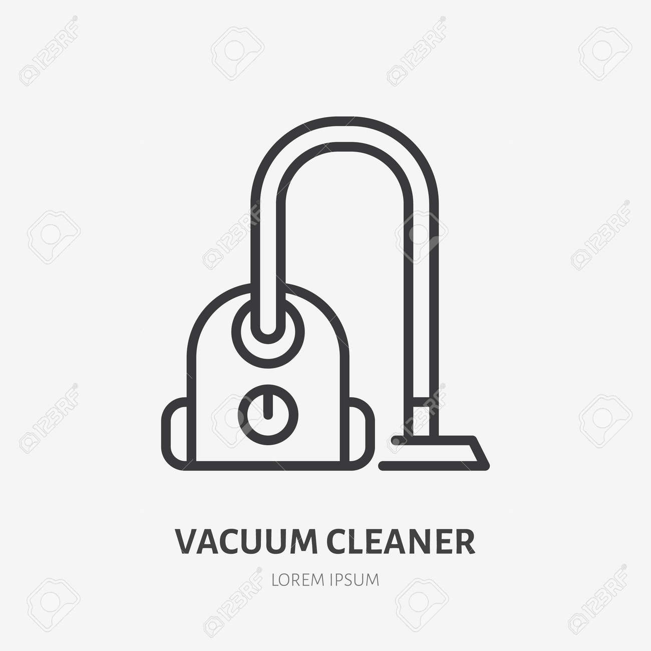 Vacuum cleaner flat line icon. Vector outline illustration of housekeeping equipment. - 163160940