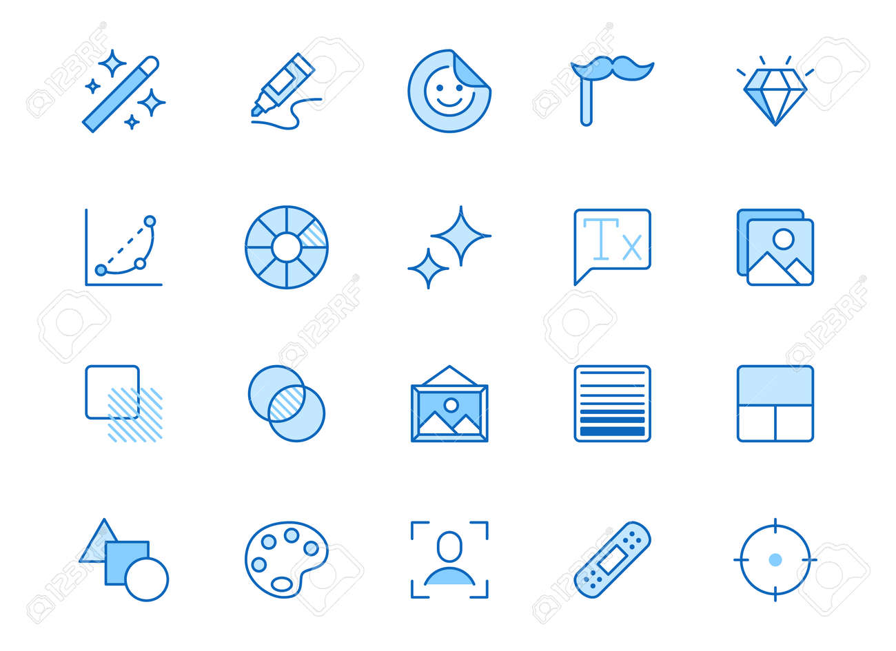 Photo edit line icon set. Image filter, add sticker, adjust curves, glow, heal minimal vector illustration. Simple outline signs for photography application ui. Blue color, Editable Stroke. - 163160941
