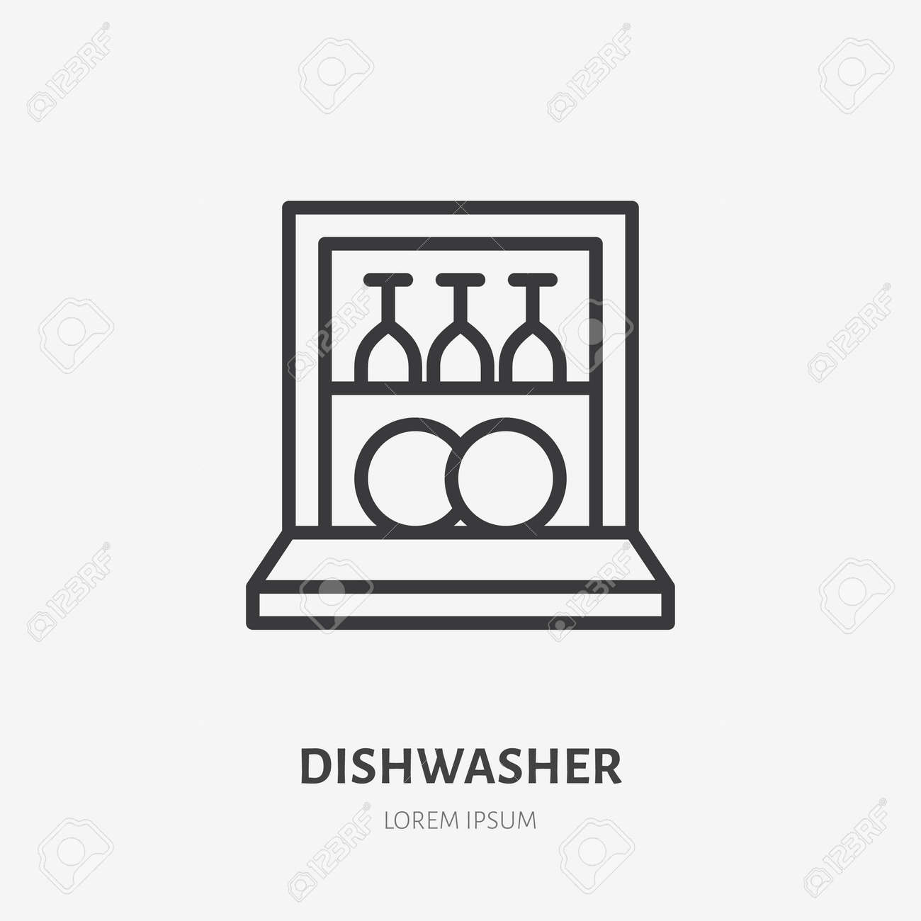 Dishwasher flat line icon. Vector outline illustration of housekeeping equipment. Black color thin linear sign for dish clean machine. - 163160942