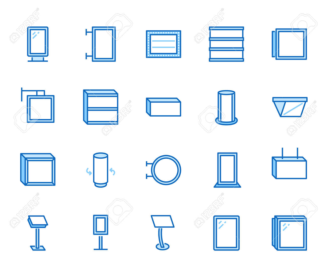 Light box flat line icons. Hanging signboard, retro lightbox, outdoor banner, shop advertising vector illustrations. Thin signs of street ads. Blue color, Editable Stroke. - 163160943