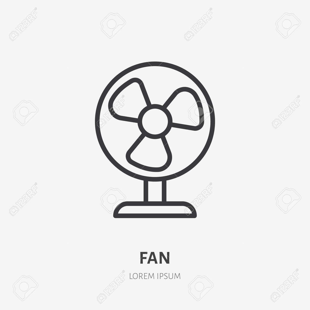 Fan conditioner flat line icon. Vector outline illustration of vintage propeller. Black color thin linear sign for small table ventilator. - 163160945