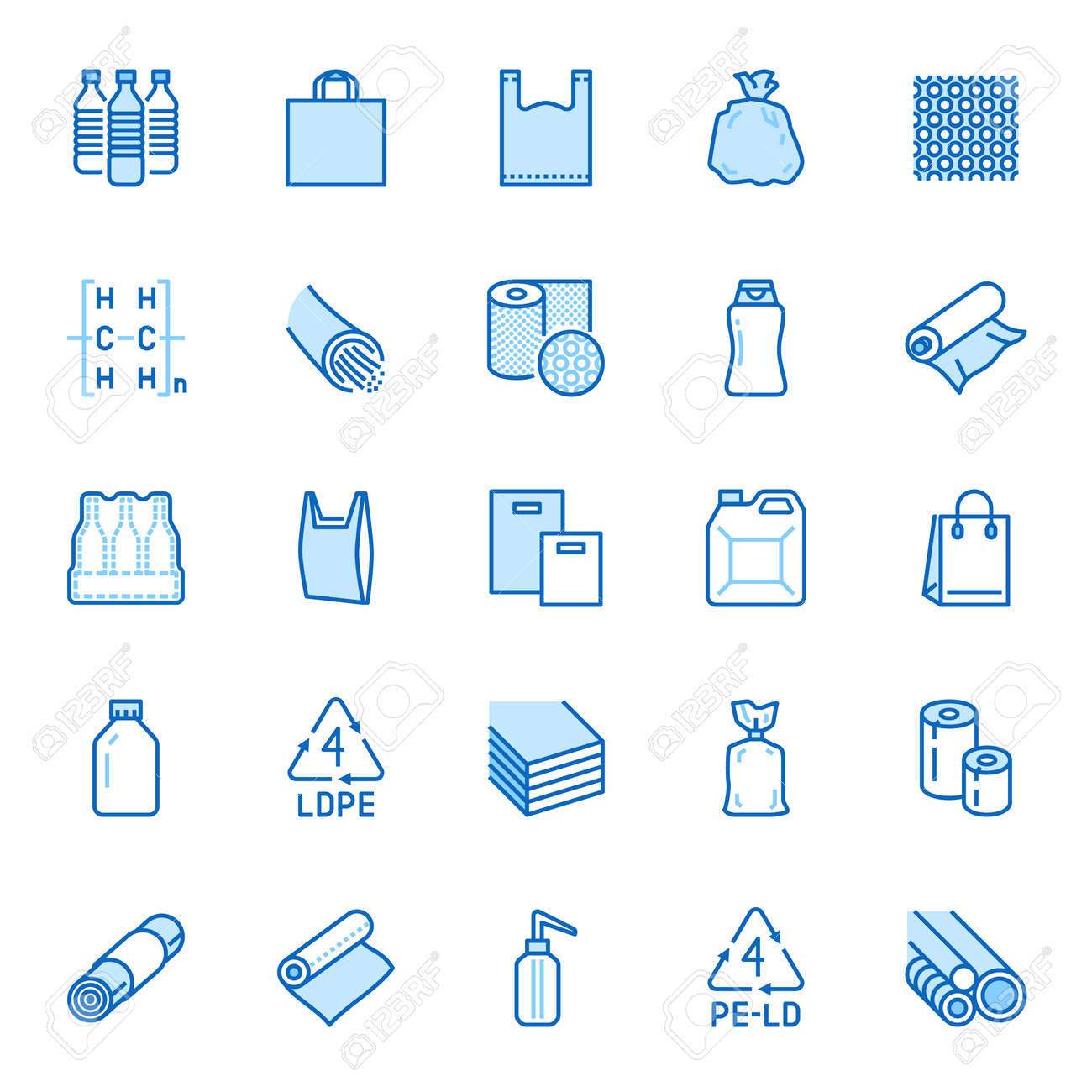 Low density polyethylene flat line icons. - 163160948